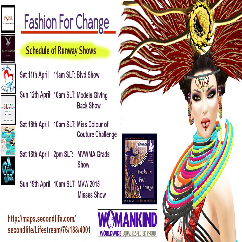 Fashion For Change events Schedule of Runway Shows